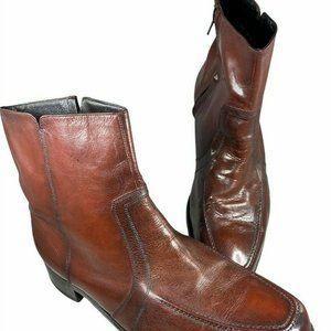 Florsheim Size 13D Mens Vintage Brown Leather Zip
